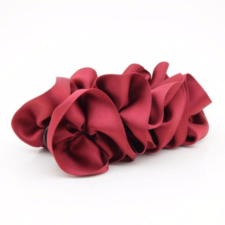 Handmade Satin Wave Flower Banana Hair Clip Top Hair Accessory #VeryShine #Clips #CasualSpecialDay