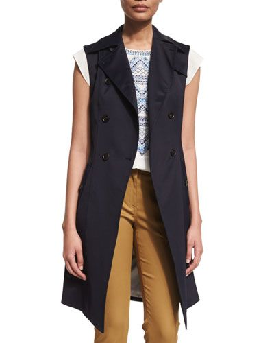Veronica+Beard+Socal+Stretch+Trench+Vest+Navy+|+Clothing