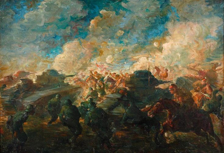 TADEUSZ KOKIETEK (1920 - 1982)  SZARŻA POD KIERNOZIĄ   olej, płótno / 70 x 102 cm