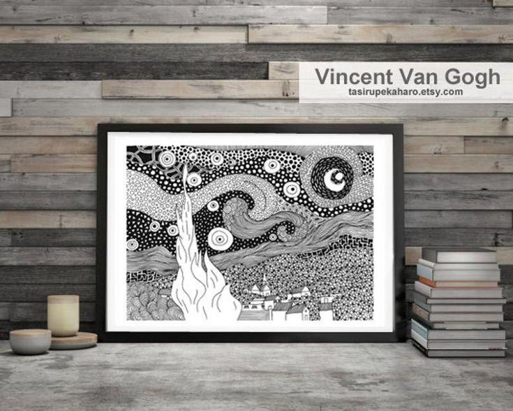 Van Gogh The Starry Night Wall Art Print Famous Painting Etsy In 2021 Gogh The Starry Night Art Prints Wall Art Prints