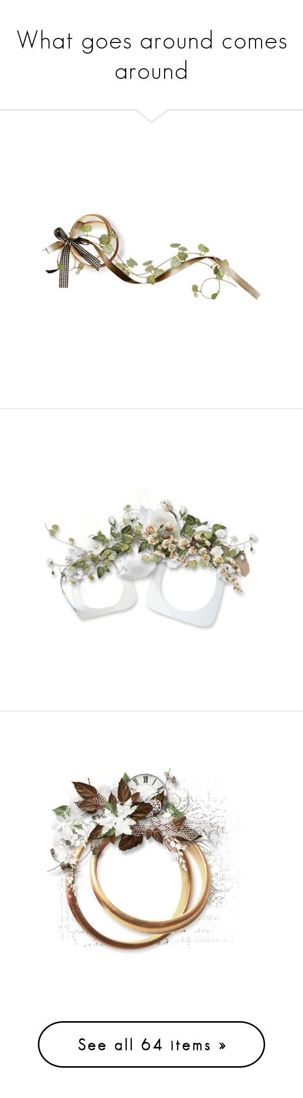 """""""What goes around comes around"""" by kristie-miles ❤ liked on Polyvore featuring frame, flowers, wedding, weddings, filler, borders, picture frame, circles, scrapbook and spring #weddingscrapbooks"""