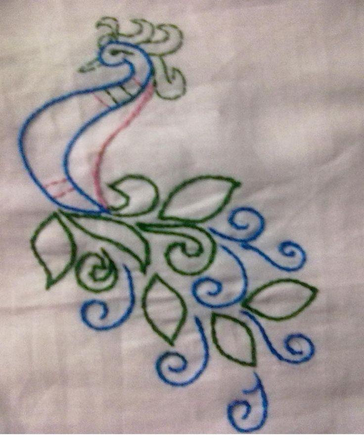 Peacock design in chain stitch basic hand