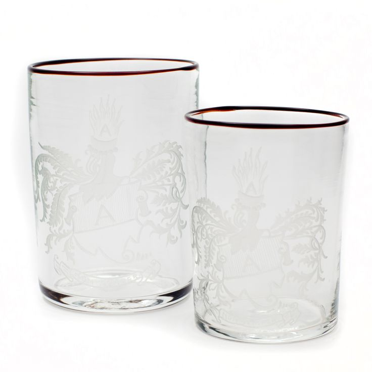 Goto water glasses with engravings