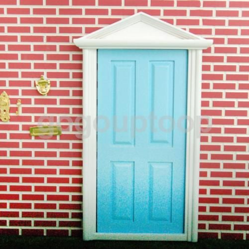 Dolls house miniature fairy external wooden door w/ #metal #knocker #plate blue,  View more on the LINK: 	http://www.zeppy.io/product/gb/2/281916193628/