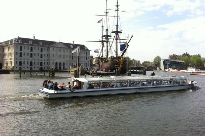 Amsterdam Canal Cruise and Maritime Museum Discover naval Amsterdam with a combination of a canal cruise and a visit to the National Maritime Museum (Scheepvaartmuseum). Learn more about the grand Dutch naval history in the National Maritime Museum,witness the replica of an East-Indian Trade Company ship and cruise past beautiful bridges andthe famous Amsterdam merchant houses alongside the water.Explore Amsterdam's scenery by canal and learn about Dutch naval hist...