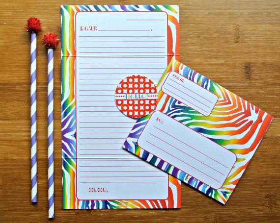 Rainbow Zebra Print Fold and Seal Tween Camp by effiespaper, $16.00