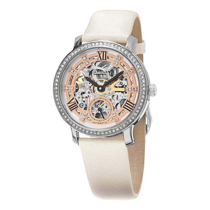 Stuhrling Original Women's Legacy Automatic Skeleton Crystal Satin Covered Strap Watch