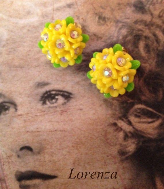 Boucles vintage jaune