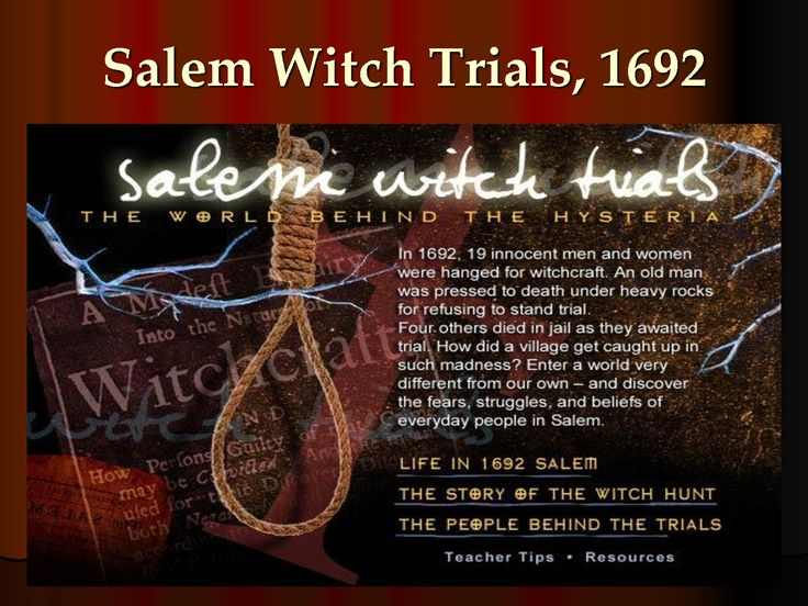 an overview of the infamous salem witch trials of 1690s Much of the city's cultural identity reflects its role as the location of the infamous salem witch trials of 1692, as featured in arthur miller's the crucible.