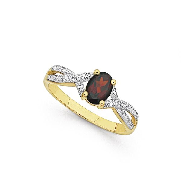 9ct Garnet & Diamond Twist Ring