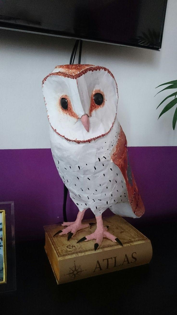Barn owl, homemade, paper mache