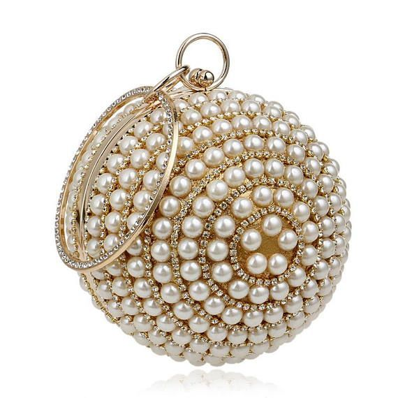 Women's Pearl Beaded Evening Bags Pearl Beads Clutch Bags