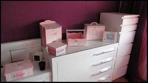 """Conjunto de bebé """"Baby Marie"""": fraldário, cesta, caixa de medicamentos, caixa de recordações de bebé, ... - GataPreta Artesanato"""