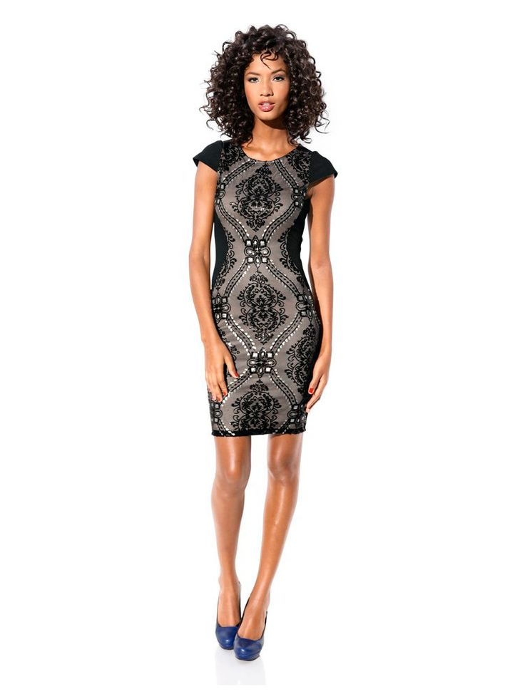 Class International Fx - Bodyform-Paillettenkleid schwarz/taupe im Heine Online-Shop ➤ Jetzt günstig bestellen auf heine.de