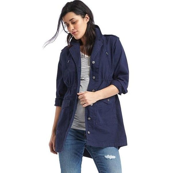 Gap Women Utility Jacket ($98) ❤ liked on Polyvore featuring outerwear, jackets, dark night, regular, long sleeve jacket, gap jackets, drawstring utility jacket, straight jacket and snap jacket