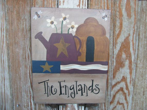 Primitive Personalized Flag Watering Can by GainersCreekCrafts