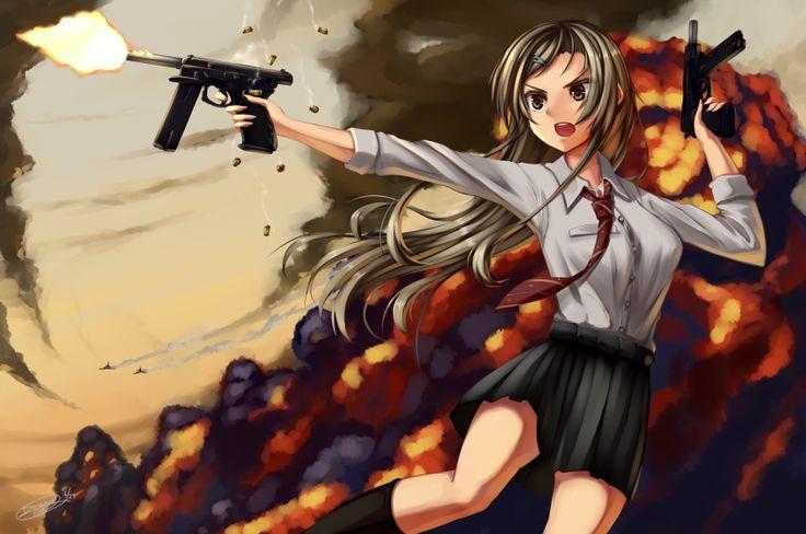 1girl brown_eyes brown_hair cz-75 cz-75-auto dreadtie dual-wielding gun handgun highres long_hair machine_pistol original pistol solo weapon