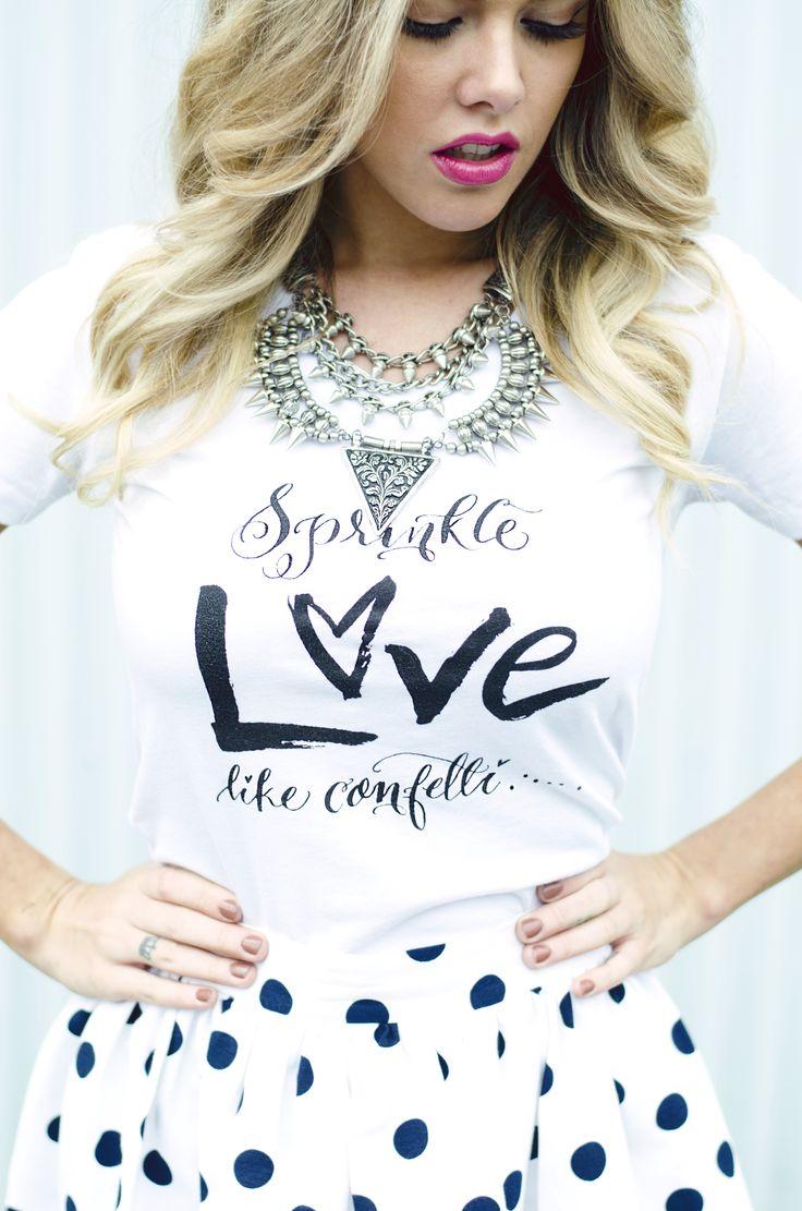 Sprinkle Love Like Confetti Tee- White/Black