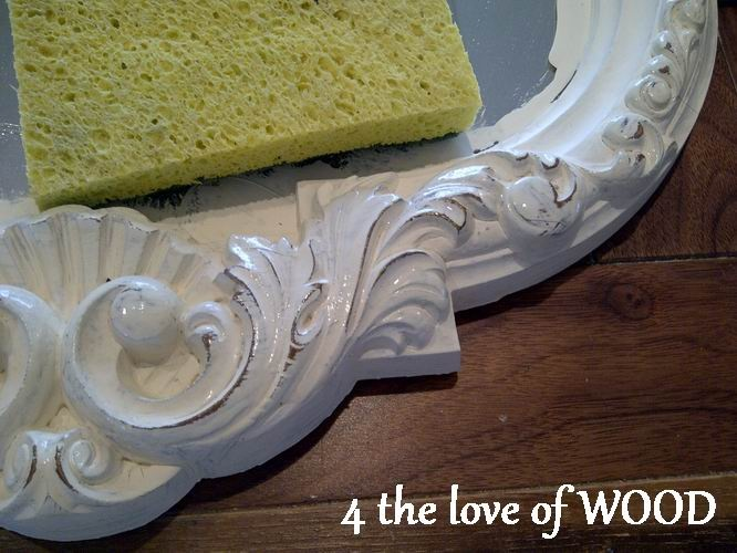 Paint over a gold mirror with Annie Sloan white chalk paint; no taping off b/c it comes off the mirror with water. Also distress b/f waxing with a wet scrubber sponge. 4 the love of wood.