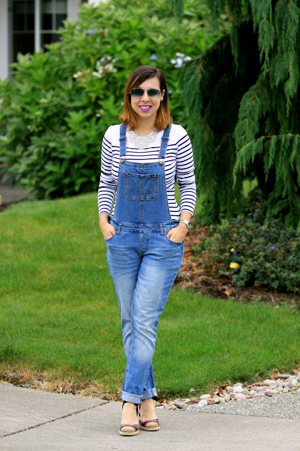 Look casual jardineira jeans com camiseta listrada e for Jardineira jeans c a
