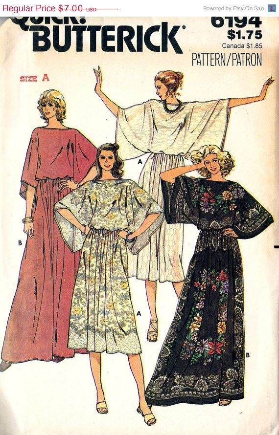 CLEARANCE SALE Butterick 6194 Retro 1970s Caftan Style Top and Skirt Sewing Pattern Sz 6-14
