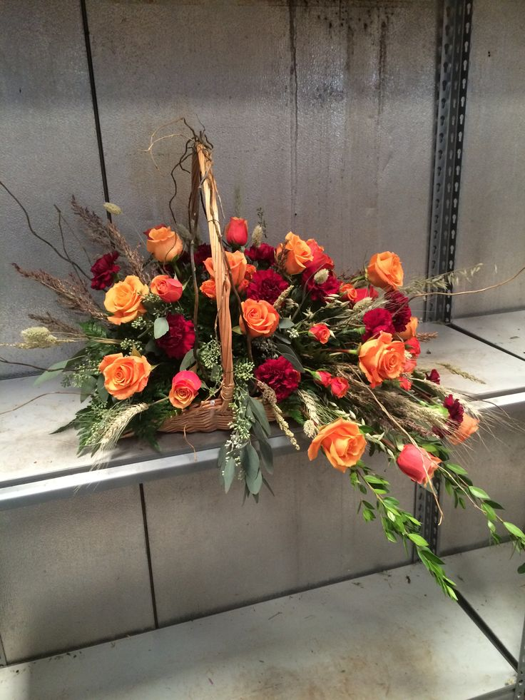 Fall colored fireside baskets | Fireside funeral pieces ...