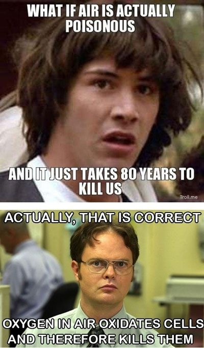 Double meme!  Conspiracy Keanu and Correcting Dwight