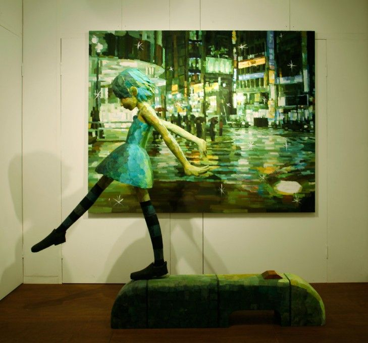 Shintaro Ohata: I am in love with this guy's work-- he places sculptures in front of paintings to combine 2D with 3D.