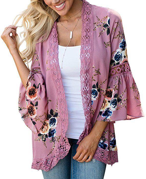 Floral Seasons Women Split Lace Floral Midi Cotton Chiffon Kimono Cardigan Loose Out Wear Pink Small at Amazon Women's Clothing store: