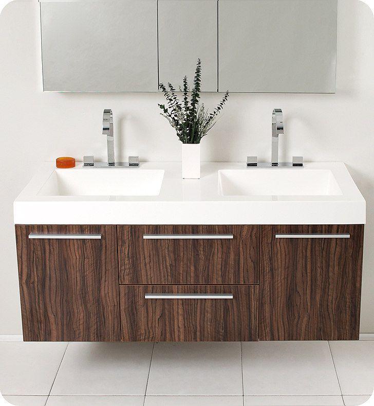 Make Photo Gallery Opulento Walnut Modern Double Sink Bathroom Vanity FVNGW by Fresca