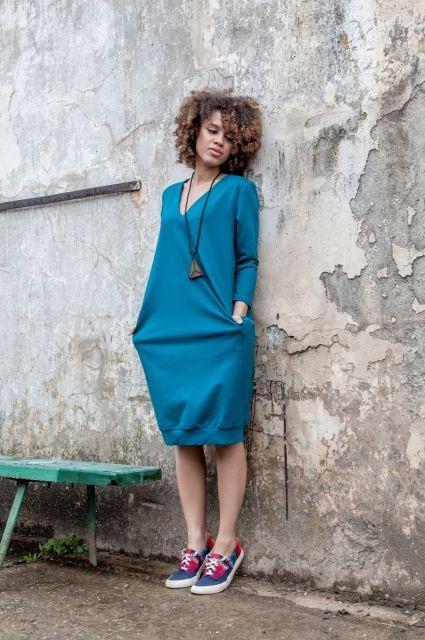 Sukienka Ethno On My Back Sea Blue | www.kokoworld.pl #kokoworld #dress #handmade #fairtrade #seablue