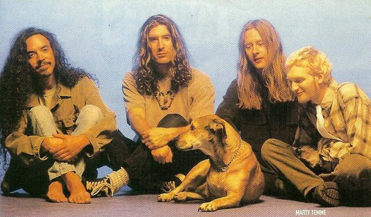 Alice in Chains with Sunshine, Layne Staley's dog. Sunshine appeared on Alice in Chains' self titled album, also known as the Tripod album and the Three Legged Dog album.