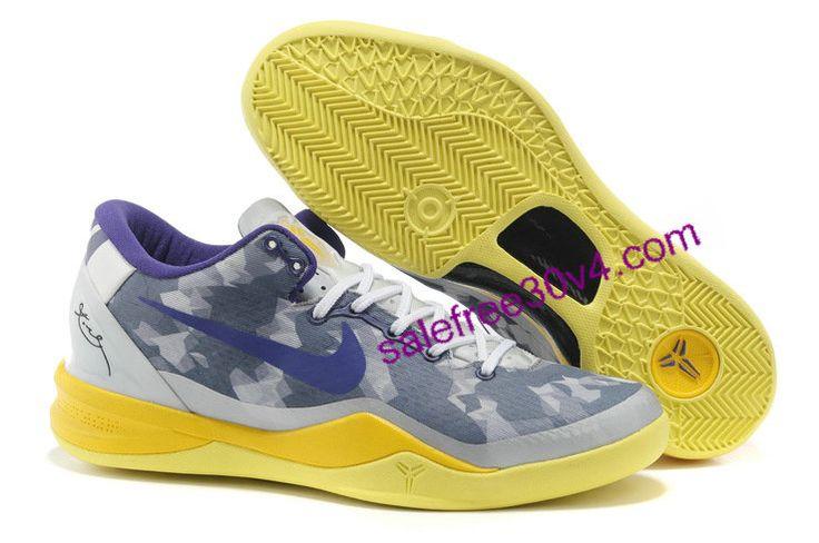 Kobe 8 Shoes Light Grey Blue Yellow   #Yellow  #Womens #Sneakers