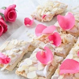 Mazurek or Mazurka - polish cake with rose petals