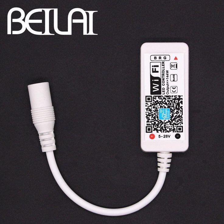 BEILAI DC 12 V Mini WIFI Sterownik LED RGB Z DC Kobieta przez Kontrolę Smartfonów Dla SMD 5050 2835 Taśmy Led RGB