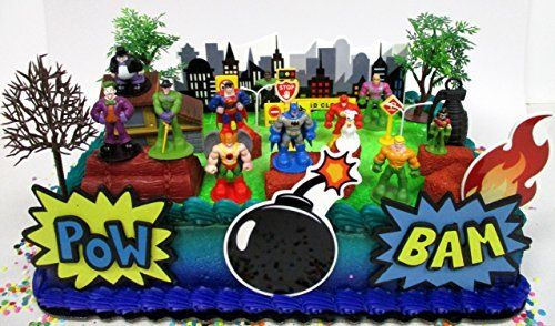 Batman Birthday Cake DC Comic Super Friends Topper Set Featuring Hero Crime Fighters And Villains With Decorative Accessories For
