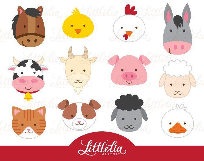 Granja Animales Imagenes Predisenadas Clipart Cabeza Etsy Animal Clipart Farm Animals Animal Heads