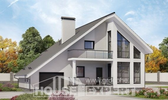 200-007-L Projekt domu dwukondygnacyjnego z pięterkiem mansardowym, garaż, średni domek wiejski z bloczków silikatowych, Kraków