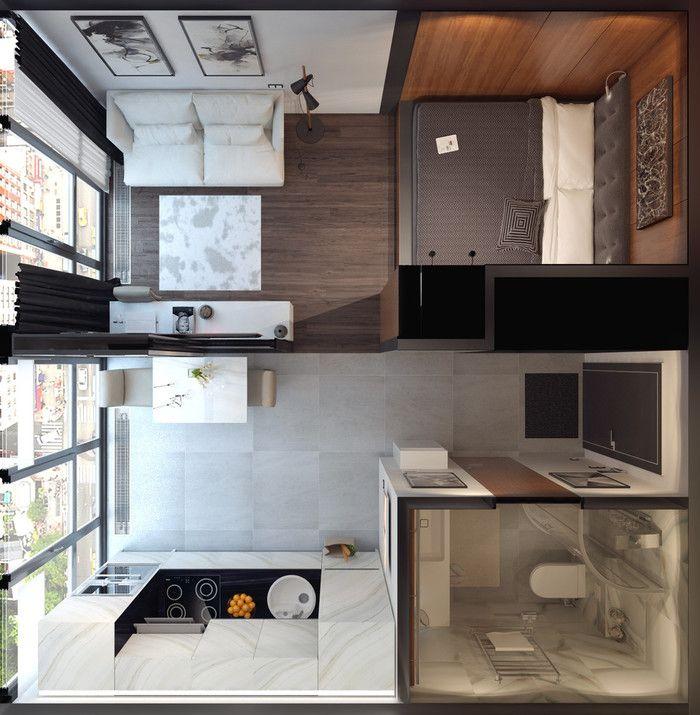 Студия на набережной для молодой семьи, 30 м² – Красивые квартиры