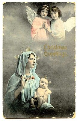 free angel postcard image | Free Vintage Clip Art – Baby Jesus, with Mary & Angels