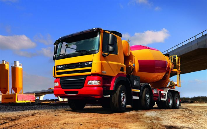 Download wallpapers DAF CF, 8?4, 2017, Concrete mixer, concrete transportation, concrete plant, special trucks, CF85410 FAD, DAF