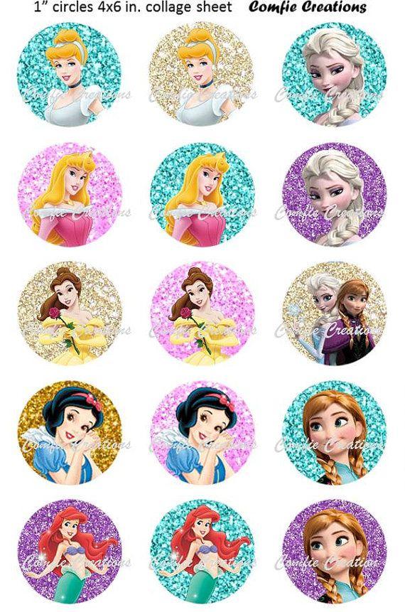 Disney Princesses Glitter Bottle Cap Digital by ComfieCreations, $1.99