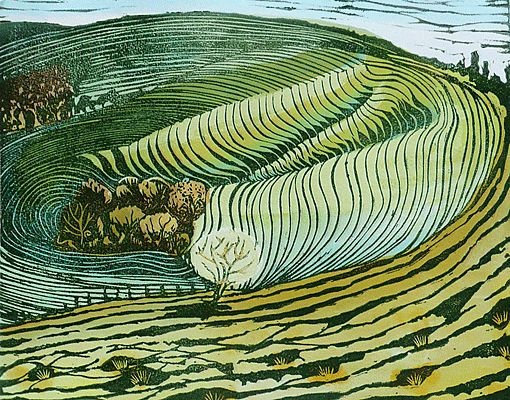 'Eggardon Dip'. Hand coloured lino-cut by Liz Somerville