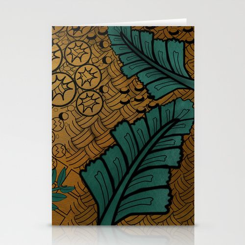 Zentangle Gold And Green  Stationery Cards