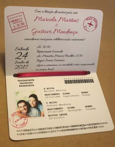 convites casamento criativo passaporte coração (10 unidades)                                                                                                                                                                                 Mais