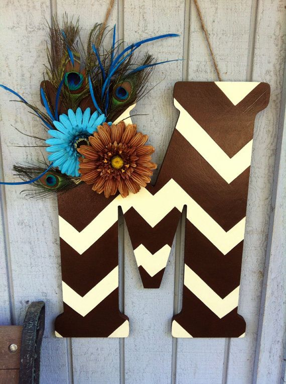 Chevron Letter Door Hanger on Etsy $45.00 & 443 best Painting: Letters images on Pinterest | Painted letters ...