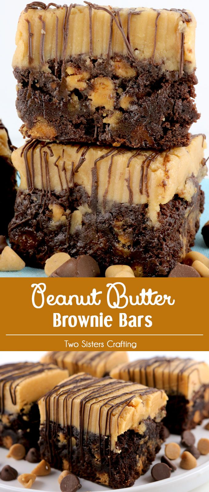 Peanut Butter Brownie Bars - two classic dessert tastes that taste great together. These yummy cookie bars are delicious, easy to make and will be an instant family favorite. Rich chocolate and sweet peanut butter combine to make a delicious treat for Fall, Thanksgiving, Christmas or just a random Monday. Make your family a Christmas Treat that they are sure to love! Pin this yummy Holiday Brownie Recipe now and follow us for more more great Christmas Food ideas.