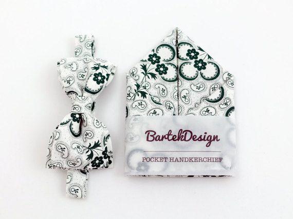 White Dark Green Bow Tie & Pocket Handkerchief by by BartekDesign