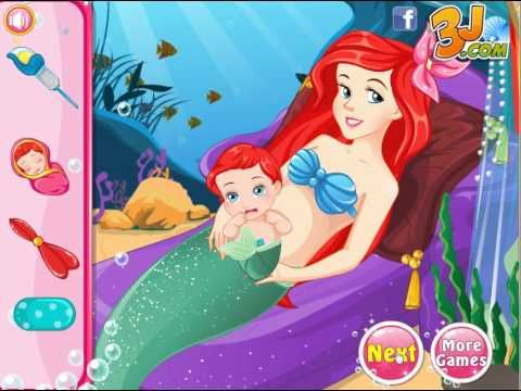 Pregnant Ariel Gives Birth - Princess Games For Girls