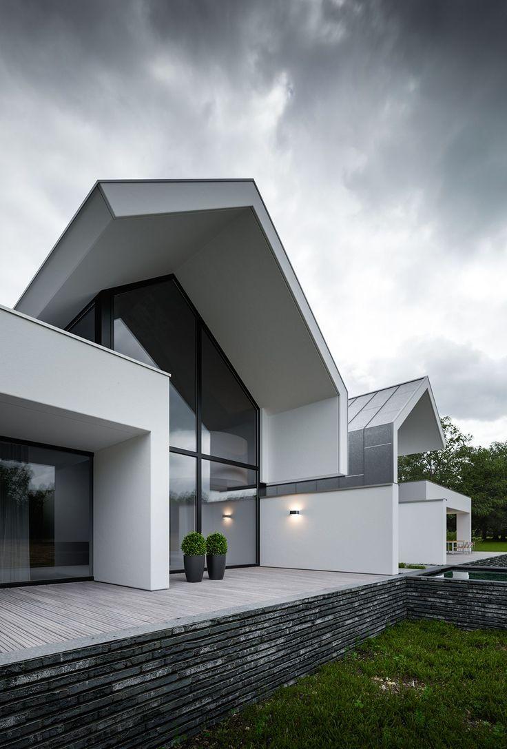 Einfamilienhaus neubau satteldach modern villen moderne häuser luxus schöne designs zeitgenössisches design moderne architektur